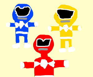 power rangers (blue,yellow and red)