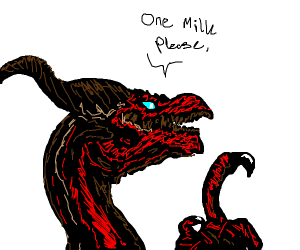 red dragon loves milk
