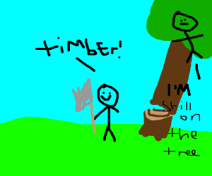 timbering a tree with a person on it