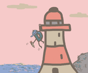 Drawception D with hat hanging off lighthouse