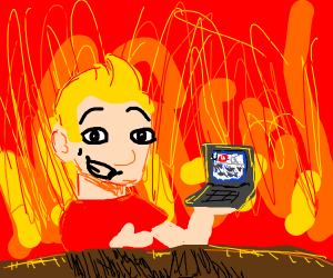 Jazza with his laptop in Hell