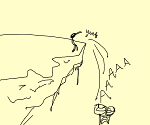 Someone yeets two people off a cliff