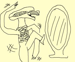 Alien doing ballet in front of mirror