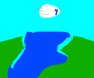 Sad duck flying over river?