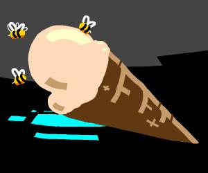 Wow bees love ice cream