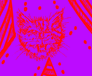 neon evil cat hallucination with doritos