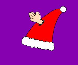 santa hat w/ protruding hand