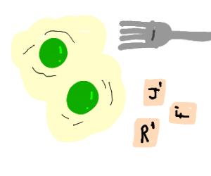 Green eggs and ...random scrabble tiles