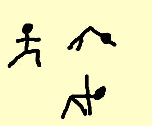 Stickfigure doing yoga