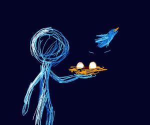 blue man holding a nest