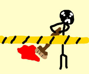 a man sweeping up blood behind police line