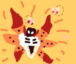 Moths attracted to Volcarona's light