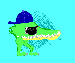 An alligator head with a cap and legs