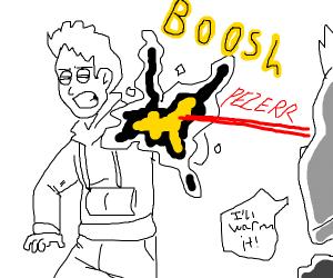 Laser eyes warming coffee