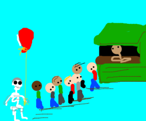 Skeleton kid with red balloon waits in line