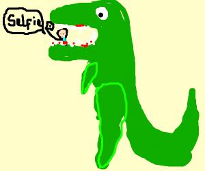 T-rex eating tourist