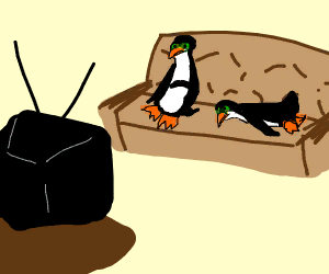 A penguin drinks beer and watches TV on couch