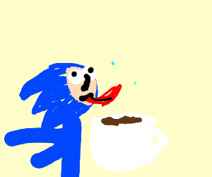 sanic wired on coffee