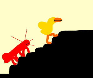 A duck and a lobster, climbing the stairs
