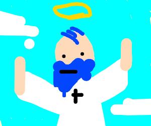 God with blue hair