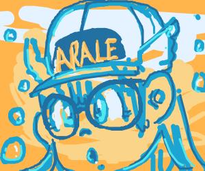blue outline of anime girl face underwater