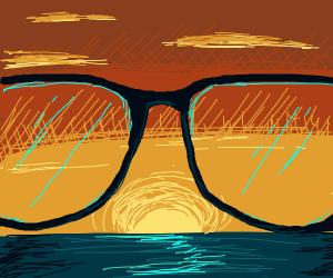 sunset viewed through glasses