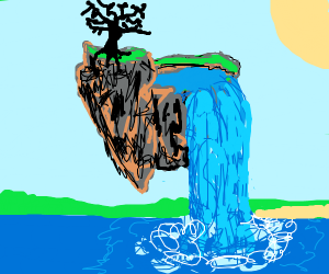 floating island with a waterfall