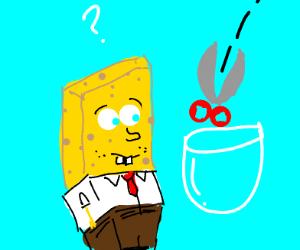 spongebob with floating bowl cut