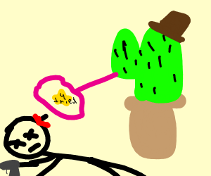 Someone shooting a cactus with a hat on it