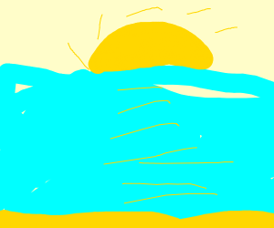Sunset on the beach but all there is is water