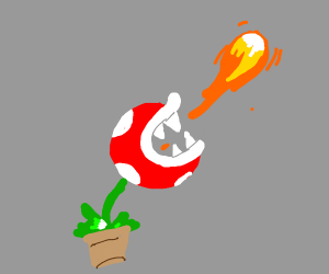 Piranha plant breathing fire
