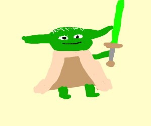 Yoda with a green sword.  He is smiling.
