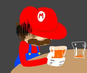 Tired Mario drinking...soda