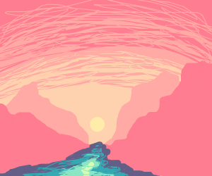 Sunset landscape over the ocean