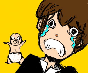 Man is sad at tiny baby