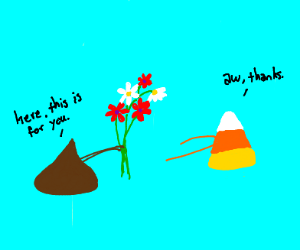 Hershey's Kiss gives flowers to candycorn