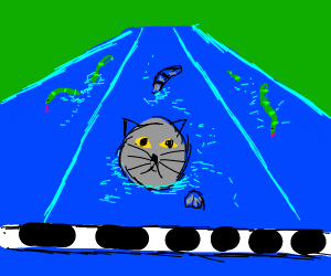 Cat winning a swimming race against snakes