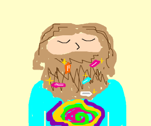 Hippy with crystals in his beard