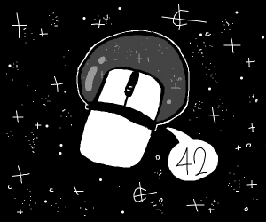 Space Mouse saying 42 (computer mouse)