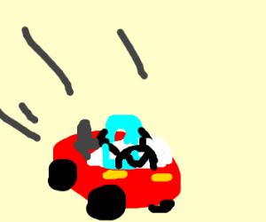 Drawception logo driving a red car