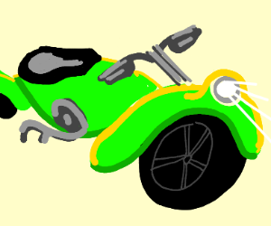 Green motercycle with big and small wheel