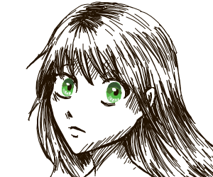 B&W anime girl has only her eyes colored