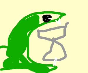 Snake eating an anvil
