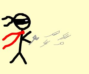 Ninja throwing kitchen utensils instead of st