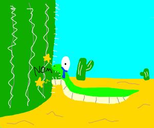 Snake biting cactus