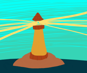 Lighthouse in island fortress