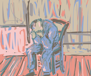 Sad lonely man crying in armchair.
