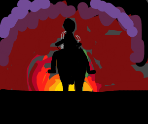 A cowboy riding into the sunset
