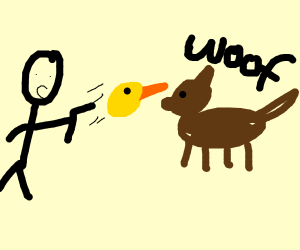 Man shoots a dog with a duck head