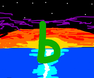 Sunset with an ocean and a green 'b'